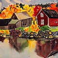Cottages By A Lake In Autumn  by Jeri Borst