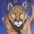 Cougar Medicine With Cobalt Blue Background by Aimee Mouw