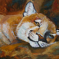 Cougar Wildlife Painting by Mary Jo Zorad