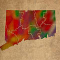 Counties Of Connecticut Colorful Vibrant Watercolor State Map On Old Canvas by Design Turnpike