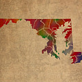 Counties Of Maryland Colorful Vibrant Watercolor State Map On Old Canvas by Design Turnpike
