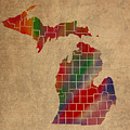 Counties Of Michigan Colorful Vibrant Watercolor State Map On Old Canvas by Design Turnpike