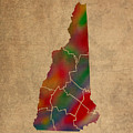 Counties Of New Hampshire Colorful Vibrant Watercolor State Map On Old Canvas by Design Turnpike