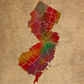 Counties Of New Jersey Colorful Vibrant Watercolor State Map On Old Canvas by Design Turnpike