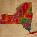 Counties Of New York Colorful Vibrant Watercolor State Map On Old Canvas by Design Turnpike
