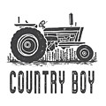 Country Boy Tractor Tee by Edward Fielding