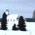 Country Church In Winter by Desiree Paquette