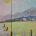 Country Landscape On Barnwood by Marjorie Tietjen