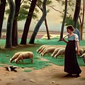Country Shepherdess  by Henri Lerolle