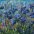 Countryside Irises Oil Painting With Palette Knife by OLena Art Brand