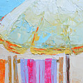 Beach Chairs Under White Umbrella - Modern Impressionist Knife Palette Oil Painting by Patricia Awapara