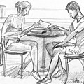 Couple Reading Black And White by Natoly Art