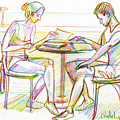 Couple Reading by Natoly Art