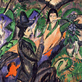 Couple Under Japanese Umbrella By Ernst Ludwig Kirchner 1913 by Ernst Ludwig Kirchner