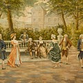 Couples On Veranda Of Chateau by Mariano Alonso