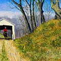 Covered Bridge And Cowboy by Stan Hamilton