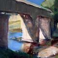 Covered Bridge At Low Water by Bob Dornberg