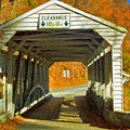 Covered Bridge Impasto Oil by David Zanzinger