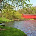 Covered Bridge Over The Lake by Terri Morris