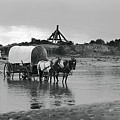 Covered Wagon River Ford And Cable Ferry 1903 by Daniel Hagerman