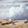 Covered Wagons Heading West by Newell Convers Wyeth