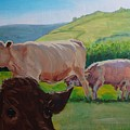 Cow And Calf Painting by Mike Jory