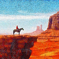 Cowboy At Monument Valley In Utah - Da by Leonardo Digenio