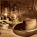 Cowboy Hat And Kerosene Lanterns by American West Legend By Olivier Le Queinec
