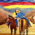 Cowboy Kisses Cowgirl by Joe Hagarty