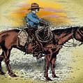 Cowboy N Sunset by Kevin Middleton