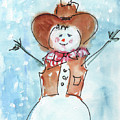 Cowboy Snowman Watercolor Painting By Kmcelwaine by Kathleen McElwaine