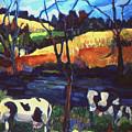 Cows In Landscape by Doris  Lane Grey