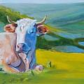 Cows Lying Down In Devon Hills by Mike Jory