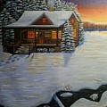Cozy Winter Cabin  by Tina Mostov