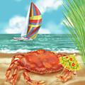 Crab With Cocktail Umbrella by Shari Warren