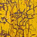 Cracked Yellow Paint Over Rust - Square by Chris Bordeleau