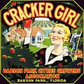 Cracker Girl Citrus Crate Label C. 1920 by Daniel Hagerman