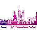 Cracow City Skyline Purple by Justyna JBJart