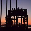 Crane At Sunset by Des Brownlie