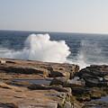 Crashing Waves On Maine Coast Rocks  by Holly Eads