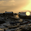 Craster Harbour In Winter 2 by Robert Shard