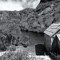 Crater Lake Boatshed Black And White by Nicholas Blackwell