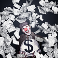 Crazy Clown Excited To Hold A Bag Of Money by Jorgo Photography - Wall Art Gallery