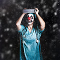 Crazy Doctor Clown Laughing In Rain by Jorgo Photography - Wall Art Gallery