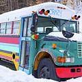 Crazy Painted Old School Bus In The Snow by Edward Fielding