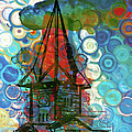 Crazy Red House In The Clouds Whimsy by Georgiana Romanovna