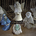 Creche Mary Joseph And Baby Jesus by Nancy Griswold
