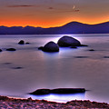 Crescent Moon Above Tahoe by Scott Mahon