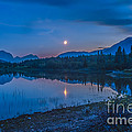 Crescent Moon Over Middle Lake In Bow by Alan Dyer