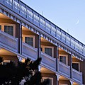 Crescent Moon Over The Boardwalk Plaza Hotel by Kim Bemis
